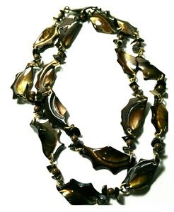 Chunky Brown Mother of Pearl Long Necklace